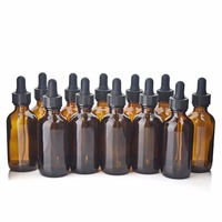12 X 2 Oz New Empty 60ml Amber Glass Eye Dropper Bottles With Glass Pipette For