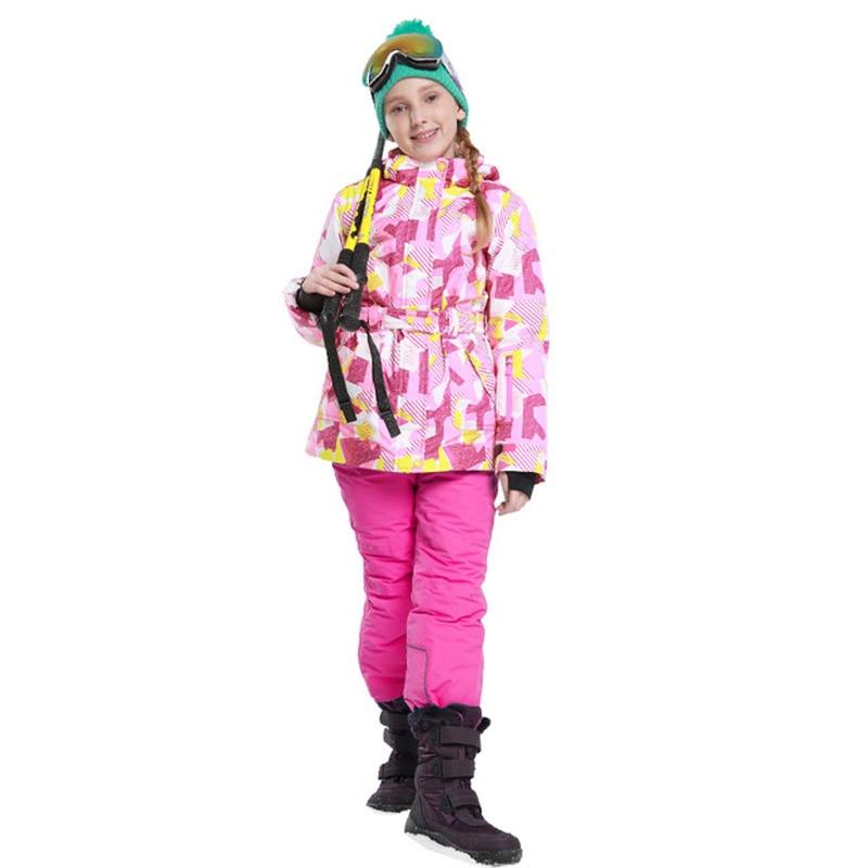 Mioigee 2017 NEW Winter Girls Ski Suit Kids Outdoor Waterproof Windproof Winter Sports suit for girls Children Warm Ski Suit hot winter beanie knit crochet ski hat plicate baggy oversized slouch unisex cap
