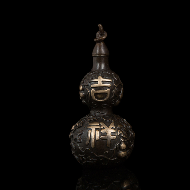 ATLIE BRONZES Chinese  characters Bronze Statue Auspicious gourd  Sculpture fengshui  products Lucky home Decoration ATLIE BRONZES Chinese  characters Bronze Statue Auspicious gourd  Sculpture fengshui  products Lucky home Decoration