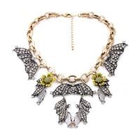 Haute De Mode Fan Collier Pendentif Vintage Accessoire Or Couleur Grand Foulard Cristal Chunky Fleur Déclaration Pour Mascarade