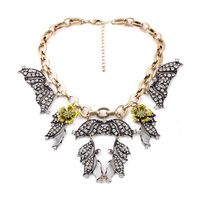 High Fashion Fan Necklace Pendant Vintage Accessory Gold Big Choker Crystal Chunky Flower Statement For Masquerade