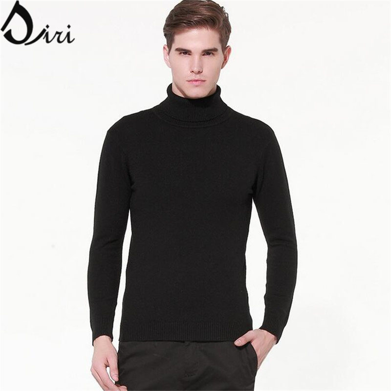 Mens Black Turtleneck Sweater Winter Pullover Homme 2015 Slim Fit ...