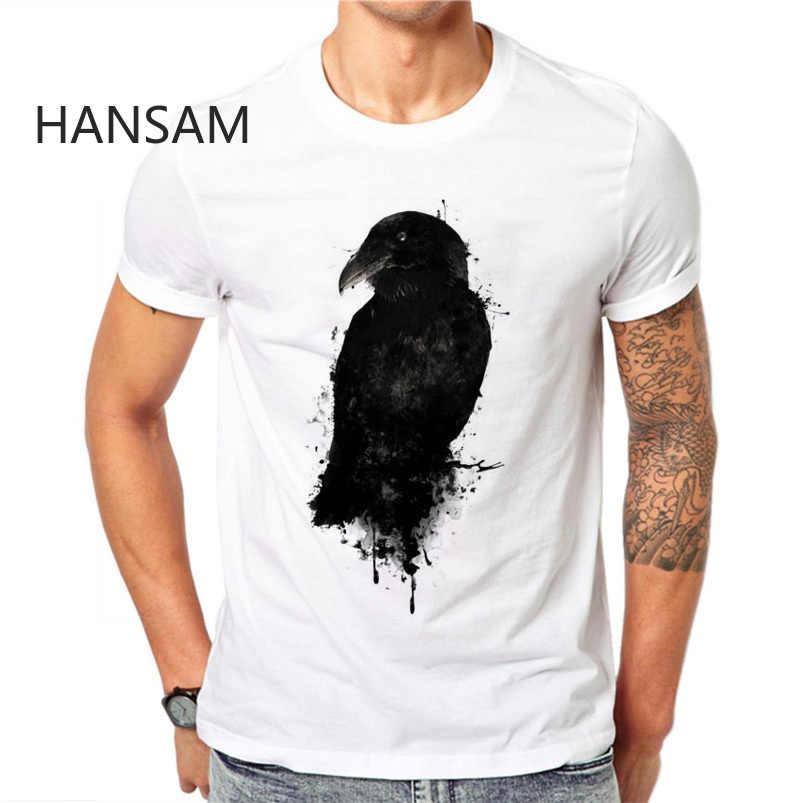 Мужская футболка с 3D принтом черная ворона летние креативные Дизайнерские повседневные мужские футболки футболка с коротким рукавом плюс размер 4XL