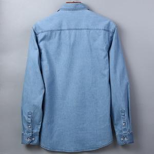 Image 5 - Mens רגיל fit ארוך שרוול ג ינס לעבוד חולצה שני כפתור קדמי חזה כיסים & עיפרון חריץ מחוספס ללבוש דק מזדמן כותנה חולצות