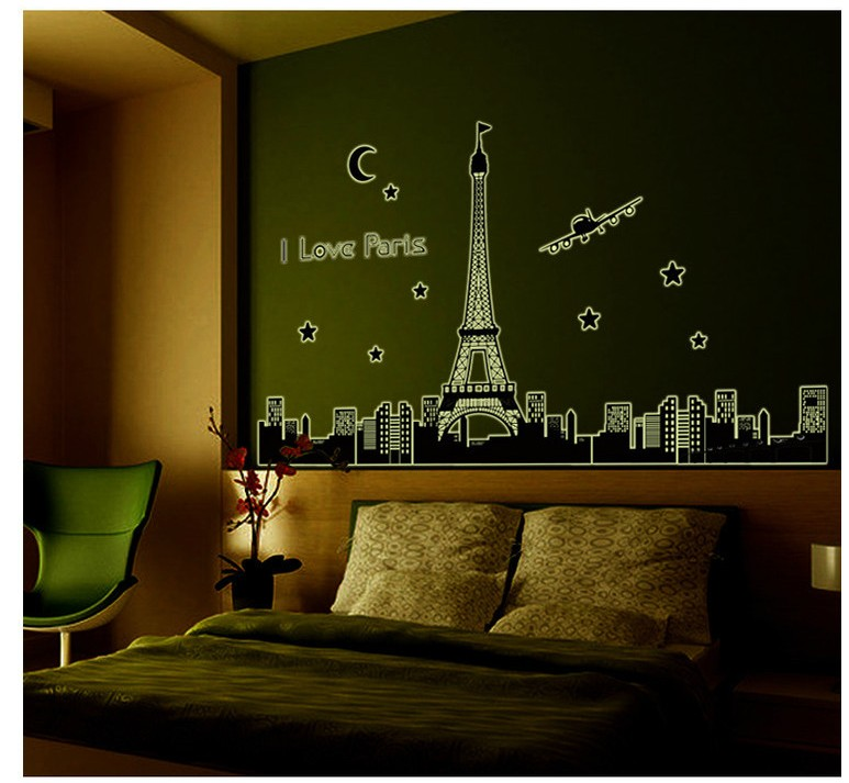 Novelty Households Glow In The Dark Diy Home Decor Wall Sticker Eiffel  Tower Mural Posters Bathroom Mirror Wall Art Decal  In Wall Stickers From  Home ...