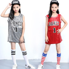 Children Glitter Sequins DS Sleeveless Vest Red Sliver Jazz Sequins Shiny Stage Wear Costume Hip Hop Dance 1 Dance Costume