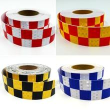 Купить с кэшбэком 5cm X 25m Traffic Multi Color Grid Design Conspicuity Reflective Safety Warning Tape Film Stickers Stripe for Truck