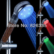 Portable Shower Head Rain Bathroom Temperature Sensor Automatic Color changing Lighted Glow Light LED Anion Health Care