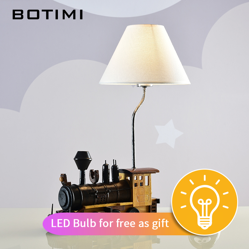 BOTIMI Retro Style LED Wooden Table Lamp With Fabric Lampshade Kids Room Bedside Lighting Train Decor Children Desk lightsBOTIMI Retro Style LED Wooden Table Lamp With Fabric Lampshade Kids Room Bedside Lighting Train Decor Children Desk lights