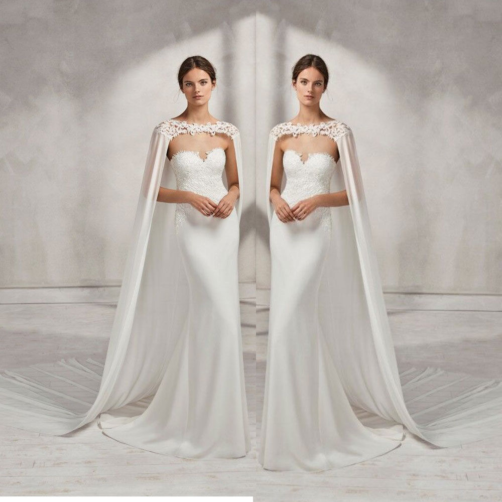 Wedding Gown Wraps: Wedding Bridal Long Cloak White Ivory Bridal Dress