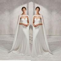 Wedding Bridal Long Cloak White Ivory Bridal Dress CapeChiffon Shawl with Lace Wraps Jacket