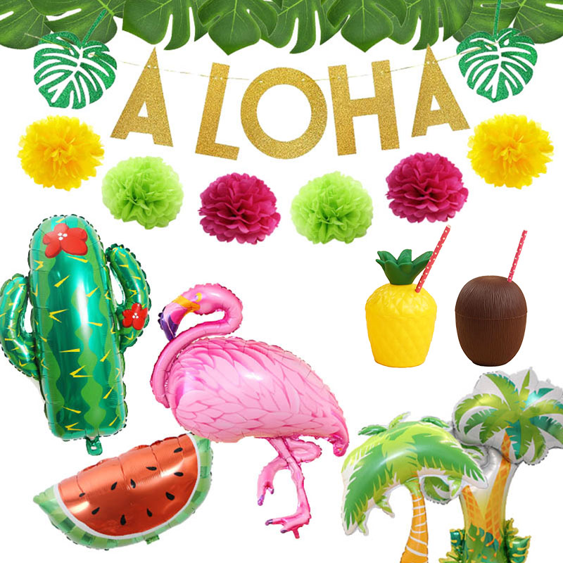 Us 1 09 22 Off Tropical Hawaiian Party Decorations Pineapple Flamingo Balloons Aloha Garlands Summer Luau Party Birthday Decoration Supplies In