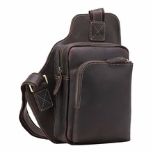 Handmade Crazy Horse 100 Genuine Leather Shoulder Pack Cross body Bag Clutch Mini with Headphone Bag