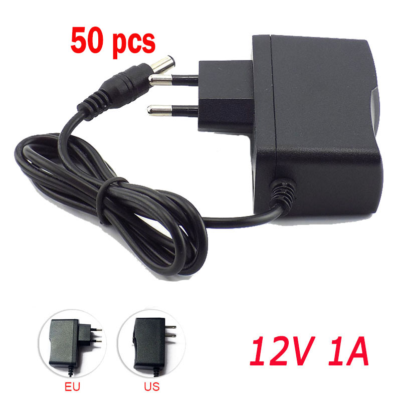 50pcs AC DC Power Adapter supply US EU Plug 100V-240V Converter Charger DC <font><b>12V</b></font> 1A <font><b>1000mA</b></font> 5.5mm x 2.1mm for LED Strip CCTV Camera image