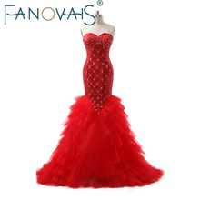 Luxury Full beads Mermaid Wedding Dresses Sequin Crystal Bridal Gowns Red Vestido de novia Robe maree Wedding Gowns