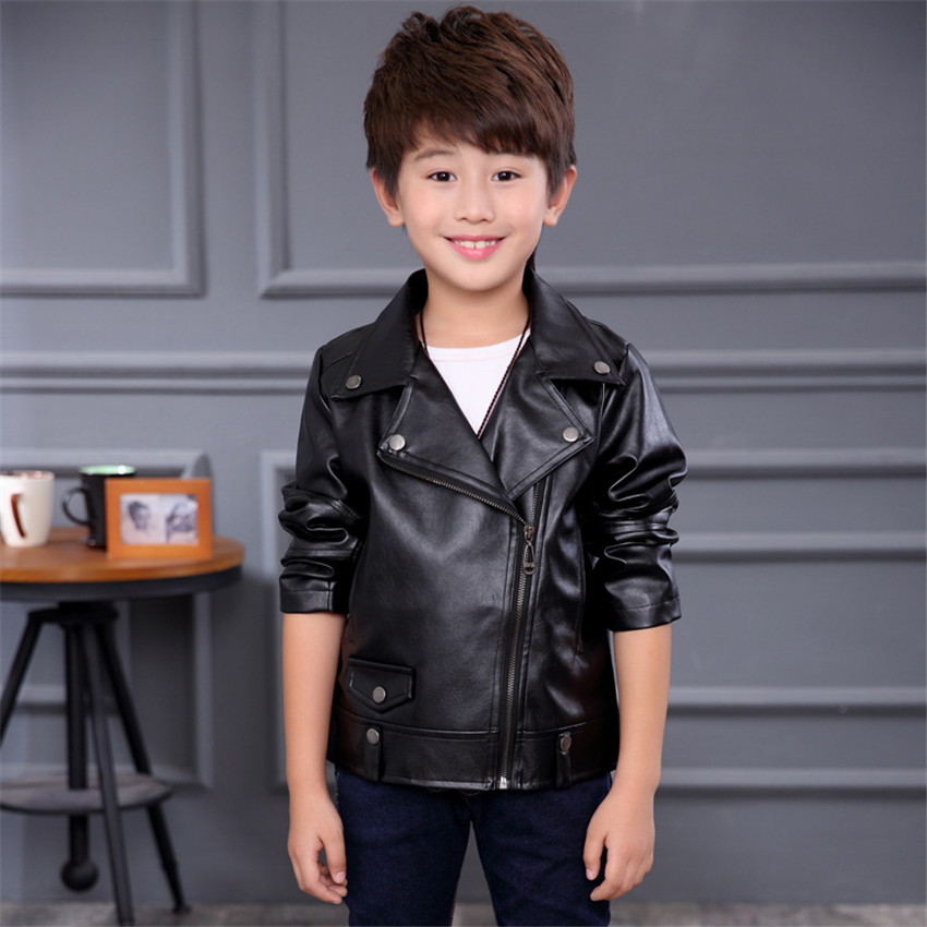 2-10 y spring jacket boys PU leather jacket kids fashion turn-down collar jacket for boys children clothes solid color