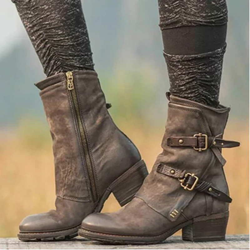 Women Vintage Leather Buckle Belt Boots Female Fashion Low Heel Motorcycle Boots
