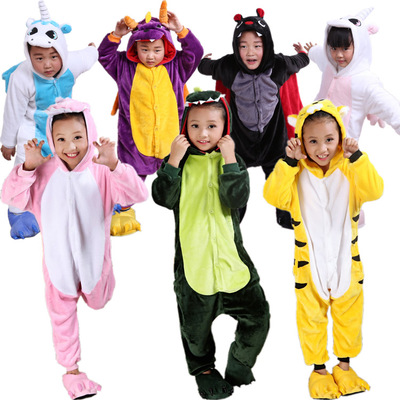 Free Shipping Baby Boys Girls Pajamas Autumn Winter Children Flannel funny animal Stitch panda Pajamas Kid Onesie Sleepwear