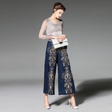 XXL!Top Quality New Fashion Plus Size Pant Summer 2016 Women Silk Linen  Embroidery Straight Leg Casual Ankle Pant Trousers