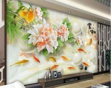 лучшая цена beibehang Fine decorative painting 3d wallpaper jade carving Peony nine fish Figure jade carving background wall papel de parede