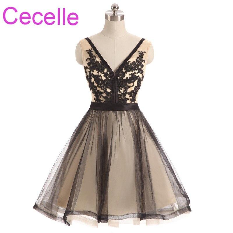 Vintage Black Nude Short Cocktail Dresses 2018 v h Neck A line Teens Semi Formal Cocktail Party Dresses Straps Short Prom Dress