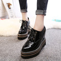 2017 Spring Vintage Oxfords Shoes For Women Platform Creepers Height Increasing Women's Oxfords Shoes Casual Ladies Flats Shoes