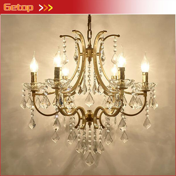 European Crystal Chandeliers European Retro Iron Lamp Living Room Restaurant Bedroom Crystal Lamp American style with E14 LED