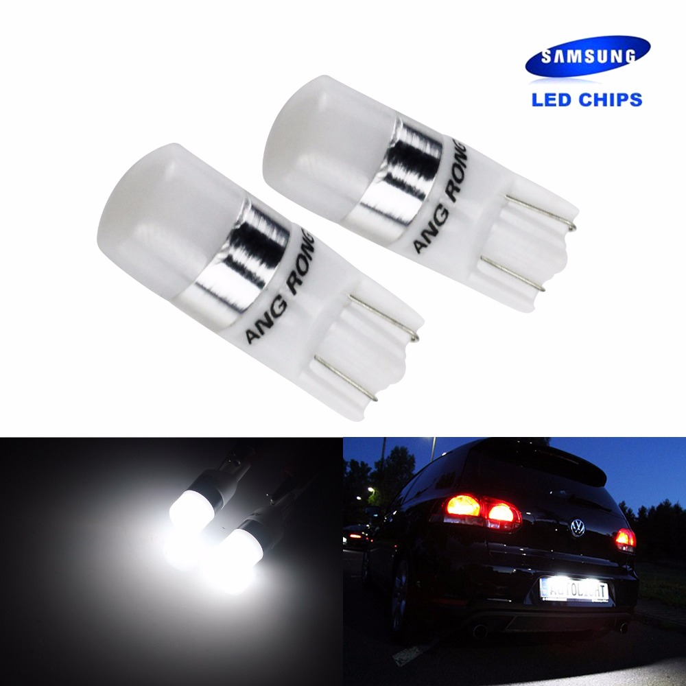 ANGRONG 2x Car T10 LED W5W 194 168 Wedge Bulbs 2 <font><b>SMD</b></font> <font><b>2835</b></font> SAMSUNG LED Light Side Indicator Number Plate Light White <font><b>6000K</b></font> image