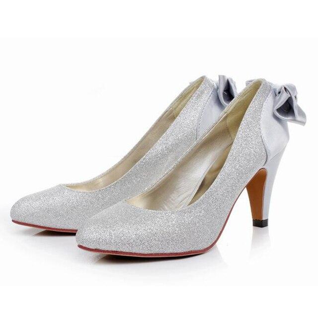 De casamento da noiva arco de ouro 7 CM sexy de salto alto prata vermelho sapatos de casamento