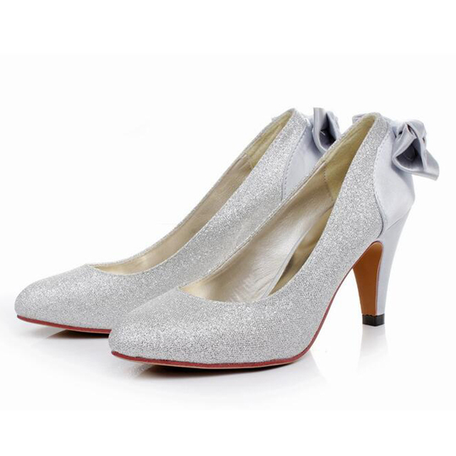 bride wedding gold bow 7 CM sexy high heels silver red wedding shoes