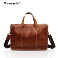 Men First layer cowhid Totes Boy Vintage Leather Shoulder bag waterproof antitheft Messenger Bags fashion large business bag