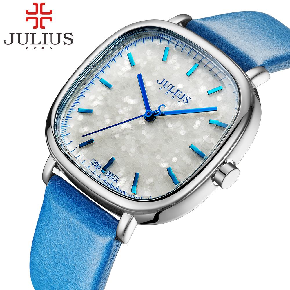 Prix pour Julius Marque De Mode Femmes Montre Dame Carré Casual Analogique Quartz Montres Or Robe Antique Montre-Bracelet Horloge Relogio Feminino
