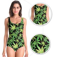 2019 New Women Swimwear Beach Wear Green Tree Leaves Printed Sleeveless Sexy Bathing Suit One Piece Swimsuit Bodysuit USA