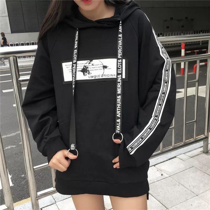 2019 Harajuku Women Hoodies Casual Sweatshirts Bangtan Boys Korean Hoodie Pullover Black Sweatshirt Fall Clothes Plus Size Woman