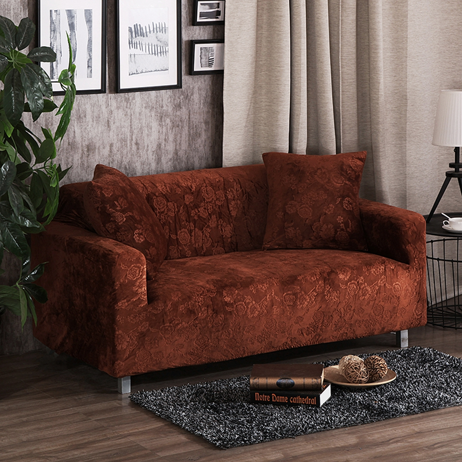 Brown stretch embossing sofa cover for home decoration 100
