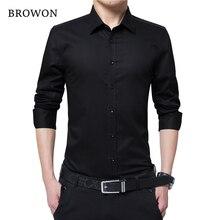 BROWON, Мужская модная блуза, рубашка с длинным рукавом, деловая рубашка, однотонная, с отложным воротником, размера плюс, рабочая блуза, брендовая одежда