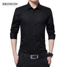 02a80966ba6cc0 BROWON Männer Mode Bluse Hemd Langarm Business Social Hemd Einfarbig  Turn-neck Plus Size Arbeit