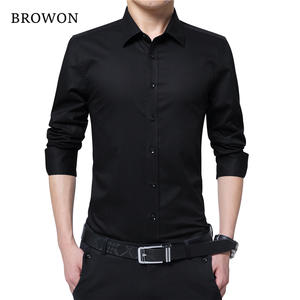 BROWON Men Long Sleeve Social Shirt Blouse Clothes