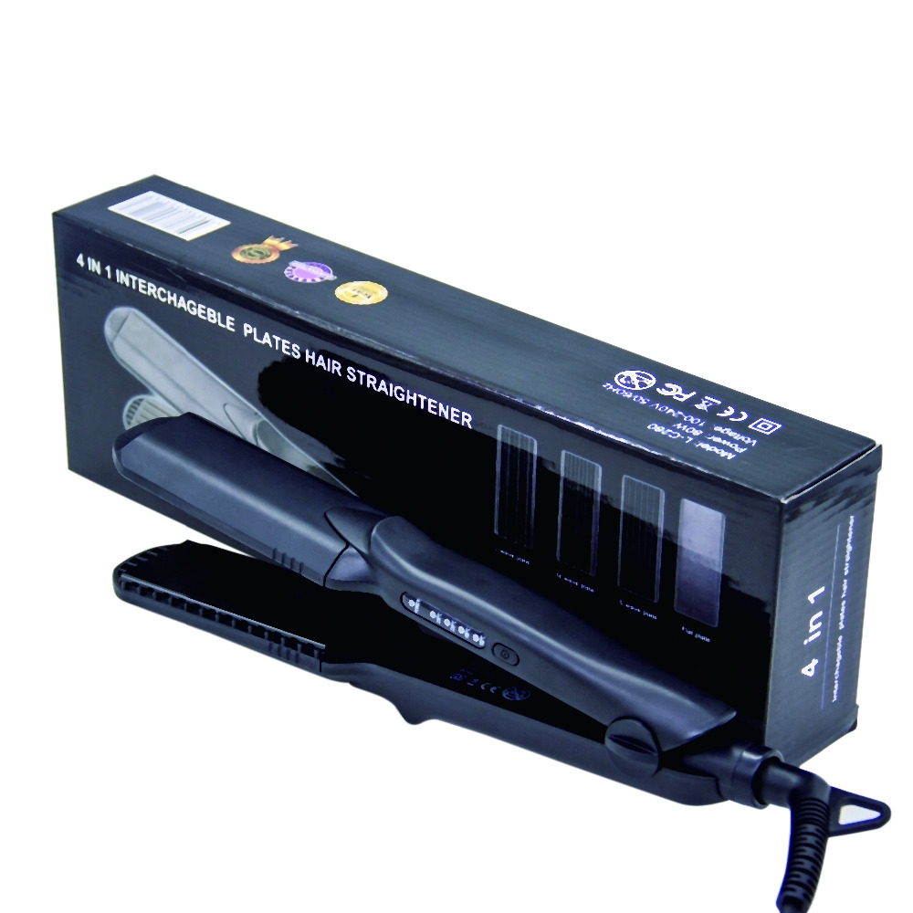 4 In 1 Professional Tourmaline Ceramic Heating Plate Hair Straightener Styling Tools With Fast Warm-up Thermal Performance