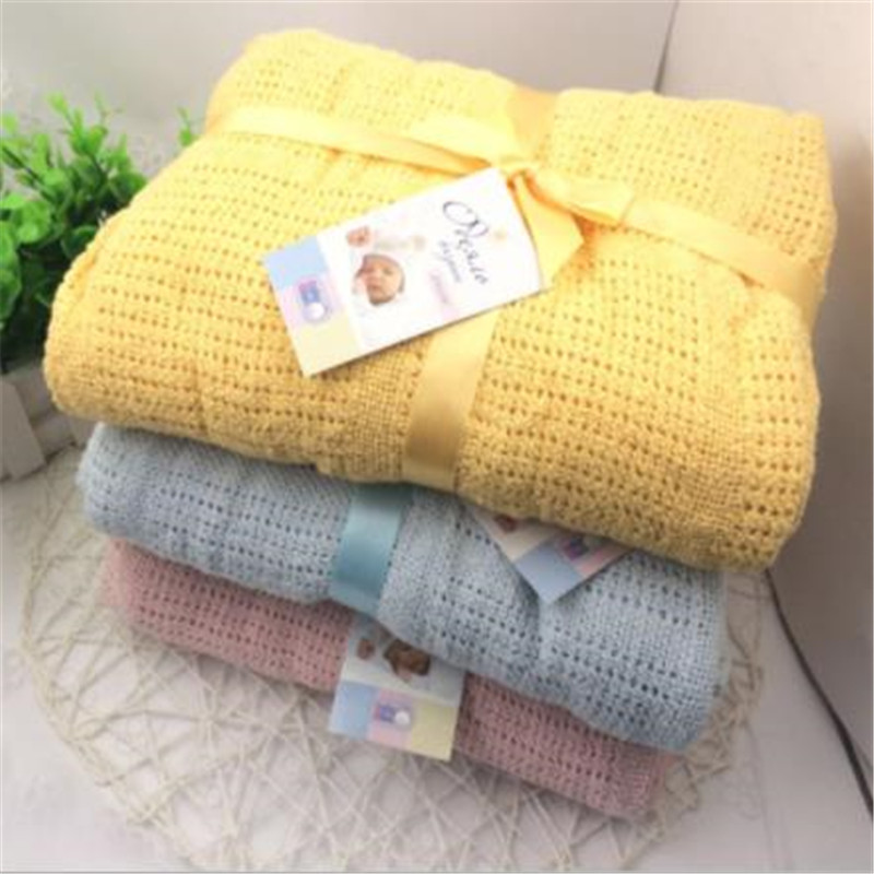 Large Size Newborn Baby Blankets Soft Cotton Crochet Summer Blanket For Crib Sleeping Bed Supplies Hollow Design 100x140cm