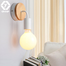 Oygroup Led Wood Wall Lamp Iron Metal Wall Light Fixtures Living Bedroom Home Lighting Lamparas De Pared Vintage Wall Sconces home antique chrome crystal wall lamps modern silver aluminium wall sconces lighting lamparas de pared bathroom led wall lights