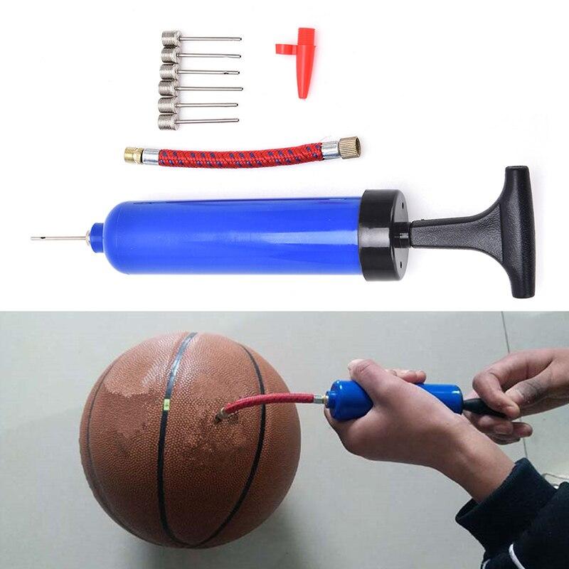 Novo plástico azul futebol bola inflável mão bomba de ar com agulha