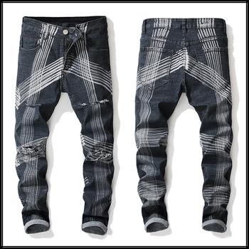 Men's Jeans stretch loose large size personality wash micro-elastic print straight pattern wrinkle slim fashion men denim pants