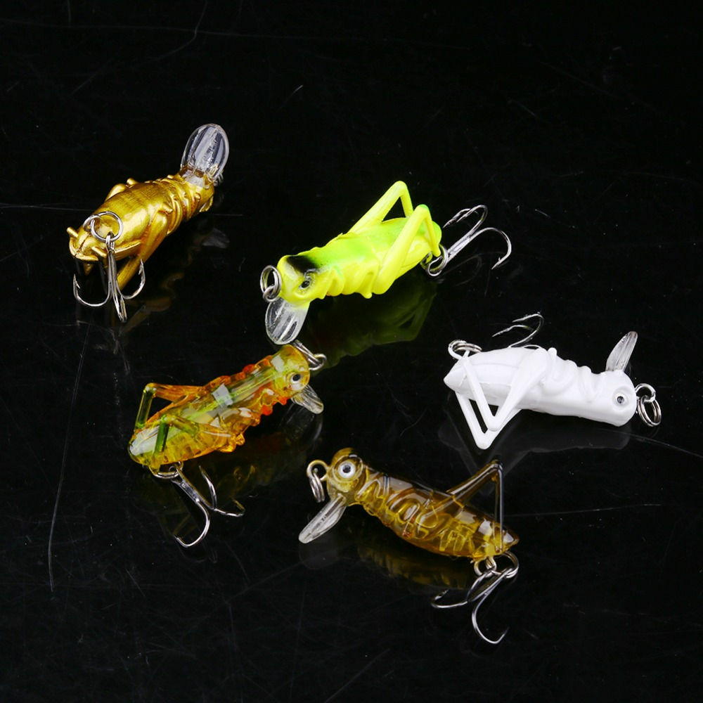 4cm Wobbler Fly Fishing Lure Jig Hard Bait Artificial Grasshopper Insects Cricket Lure With Treble Hook Sea Fishing Tackle