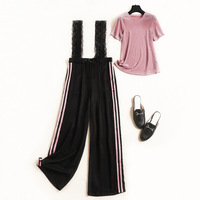 Summer Fashion Crop Top And Striped Lace Bib Pants Suit 2 Piece Set Women 2019 New Short Sleeves + Trousers Two Piece Set
