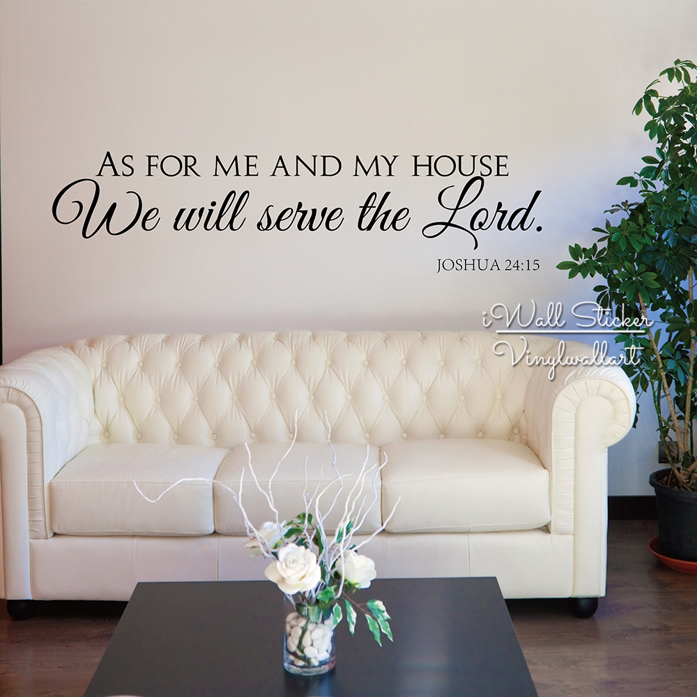 As For Me And My House Wall Decals Quotes Christian Wall Art Stickers Vinyl  Lettering Family Wall Decor Removable Cut Vinyl Q216 In Wall Stickers From  Home ...