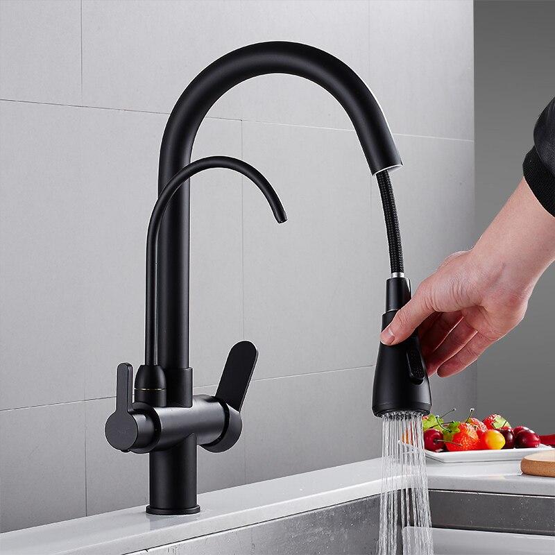 Tirez sur le robinet de cuisine en laiton massif grue pour la cuisine pont monté noir filtre à eau robinet évier robinet mélangeur 3 voies robinet de cuisine