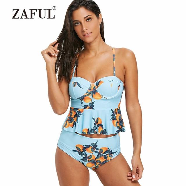 bd51d84a144 ZAFUL Women Swimsuit Push Up Orange Print Spaghetti Strap Skirted Tankini  Peplum Tankini Top Two Piece Swimwear Bathing Suit
