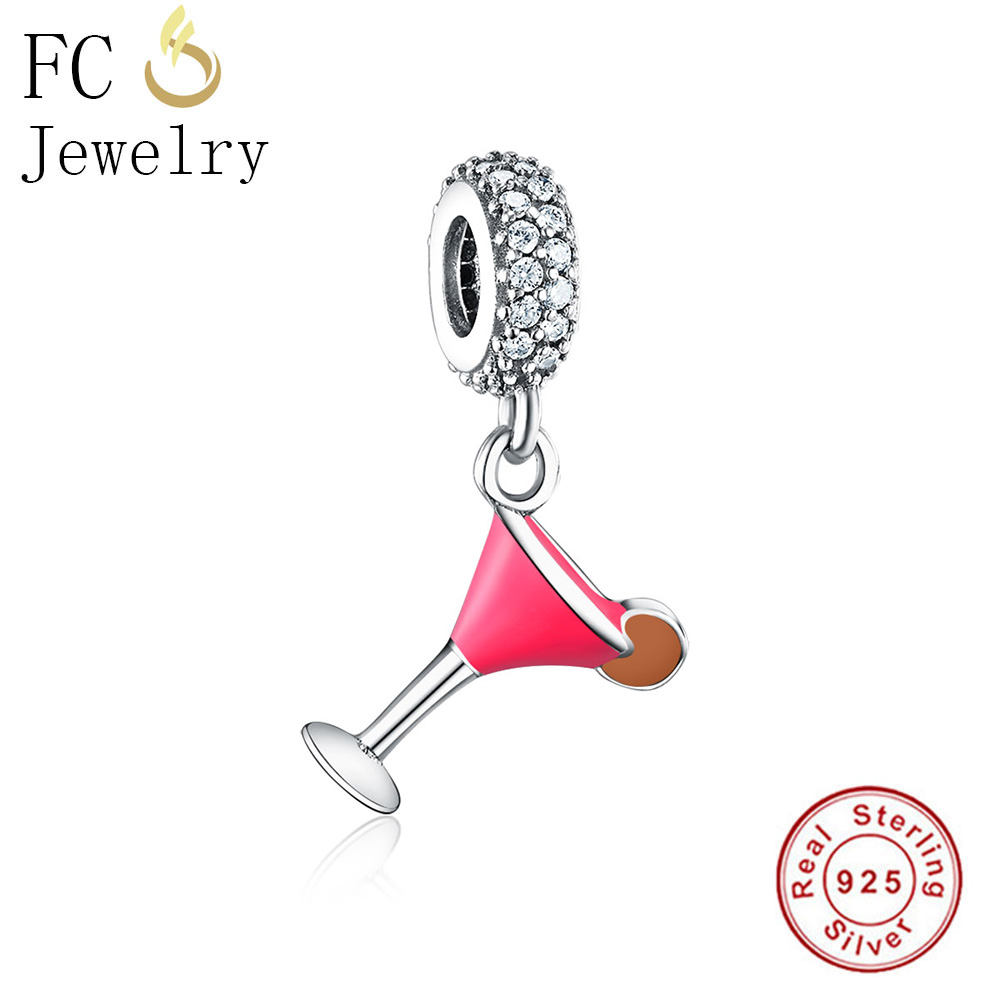 FC Jewelry Fit Original Pandora Charms Bracelet 925 Silver Cocktail Cup Color Enamel Mix Cubic Zirconia CZ Beads Berloque DIY