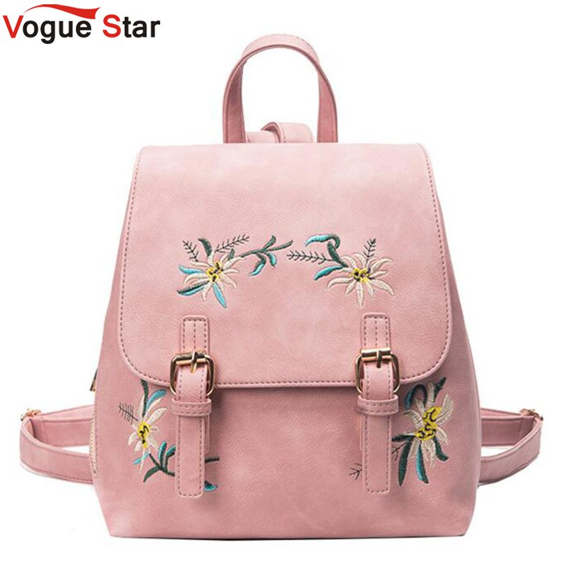 Fashion Floral Pu Leather Backpack Women Embroidery School Bag For Teenage Girls Brand Ladies Small Backpacks Gray Sac LB263 2017 new embroidery butterfly women backpack school bags for girls brand shoulder bag fashion pu leather ladies travel backpacks